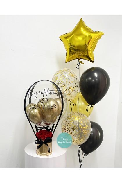 Regular Chrome Gold Balloon Bucket & Helium Balloons