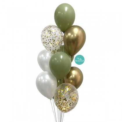 """12"""" Latex Balloon Bunch - Olive Green, Gold & White Colour"""