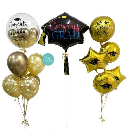 Elegant Graduation Hat Personalized Bubble Balloon Bundle