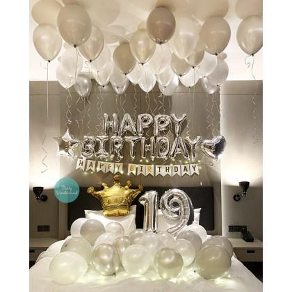 DIY Birthday Decoration White & Silver Theme