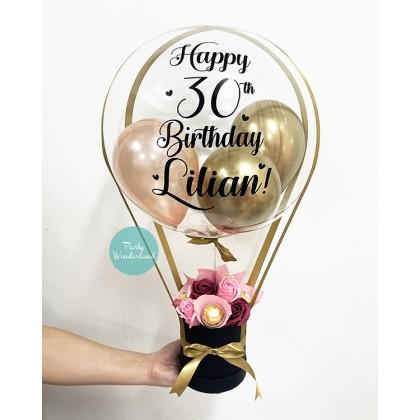 Petite Black, Rose Gold & Gold Balloon Bucket (Chocolates)