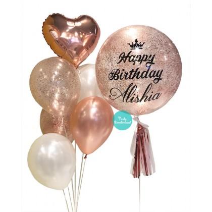 Rose Gold Confetti Bubble Balloon (Alisha)