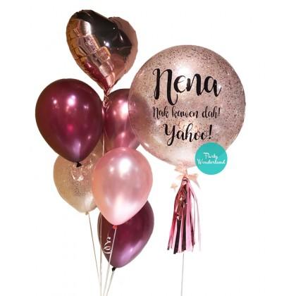 Rose Gold Confetti Bubble Balloon (Nena)