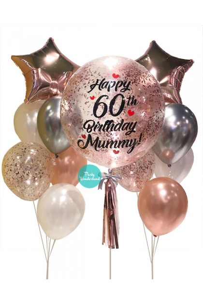 Rose Gold Confetti Bubble Balloon (Mummy)
