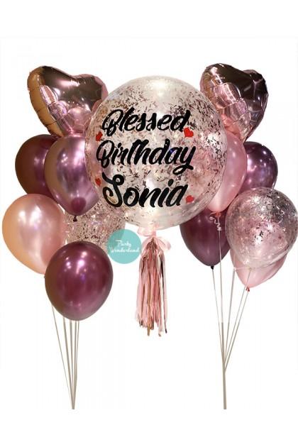 Rose Gold Confetti Bubble Balloon (Sonia)