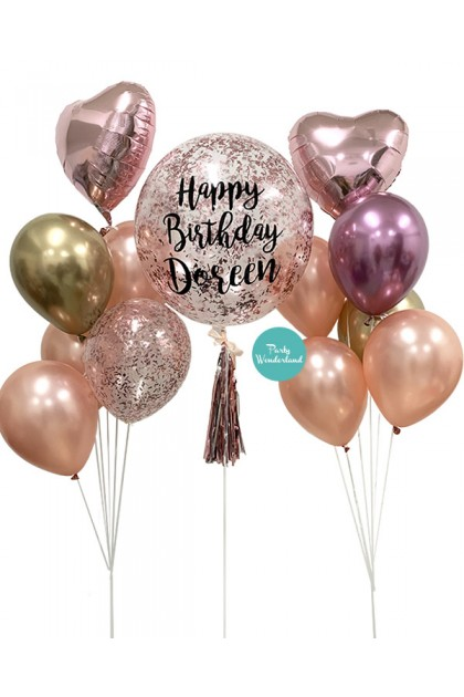 Rose Gold Confetti Bubble Balloon (Doreen)