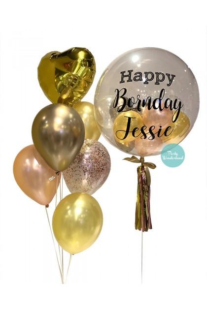 Gold Bubble Balloon (Jessie)