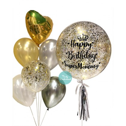 Gold Confetti Bubble Balloon (Mommy)
