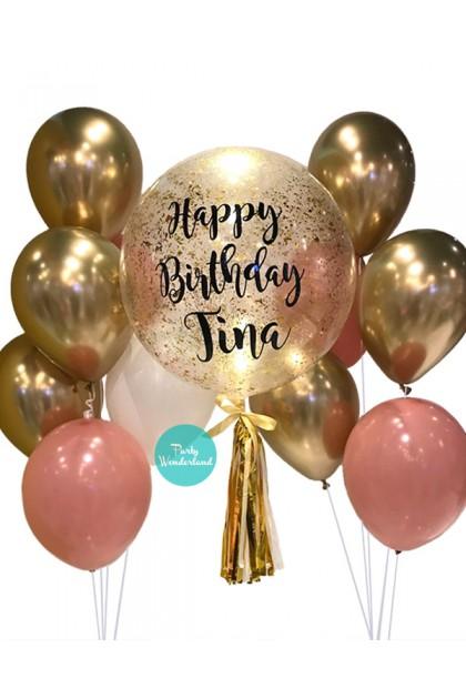 Gold Confetti Bubble Balloon (Tina)